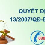 Quyết định về việc điều tra, đánh giá tài nguyên nước dưới đất số 13/2007/QĐ-BTNMT