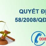Quyết định về việc hỗ trợ có mục tiêu kinh phí từ ngân sách nhà nước số 58/2008/QĐ-TTg