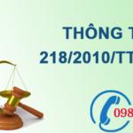 Thông tư về mức thu, chế độ thu, nộp và quản lý sử dụng phí thẩm định báo cáo đánh giá tác động môi trường số 218/2010/TT-BTC