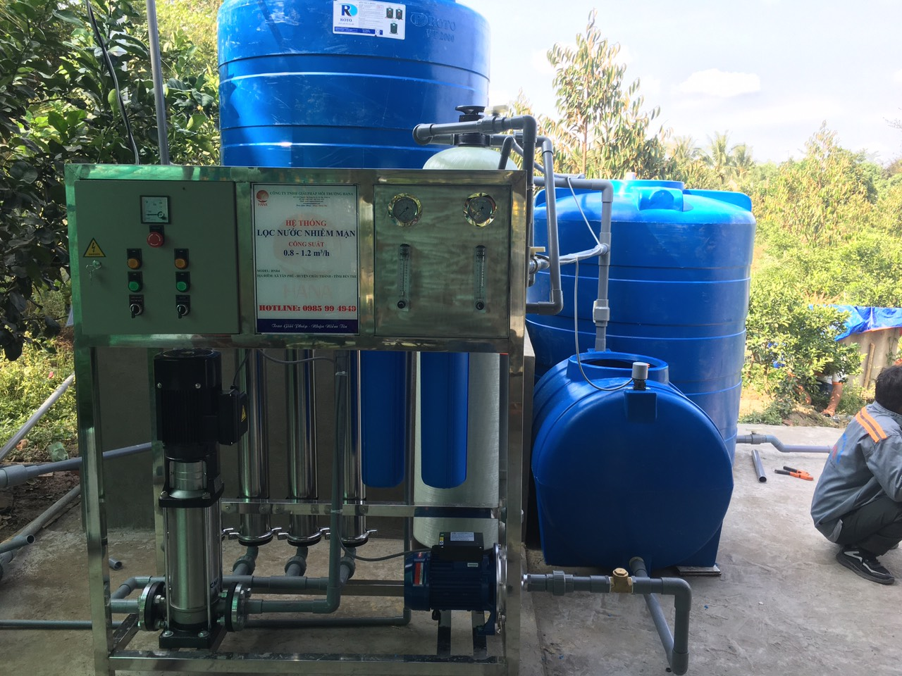 Hệ thống lọc nước HNR4 có công suất 1 m3/giờ của HANA