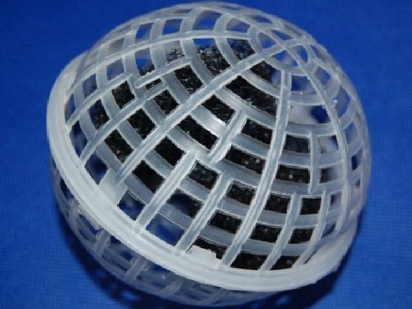 Giá thể vi sinh dạng cầu có chứa sợi giá thể bên trong